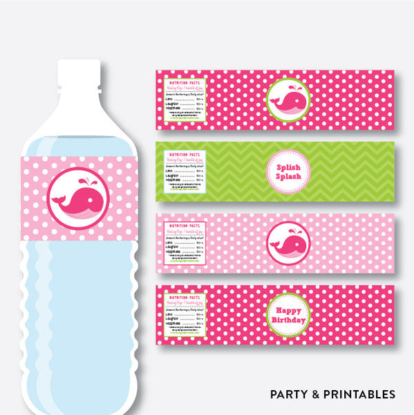 Whale Water Bottle Labels / Non-Personalized / Instant Download (PKB.11), party printables - Party and Printables