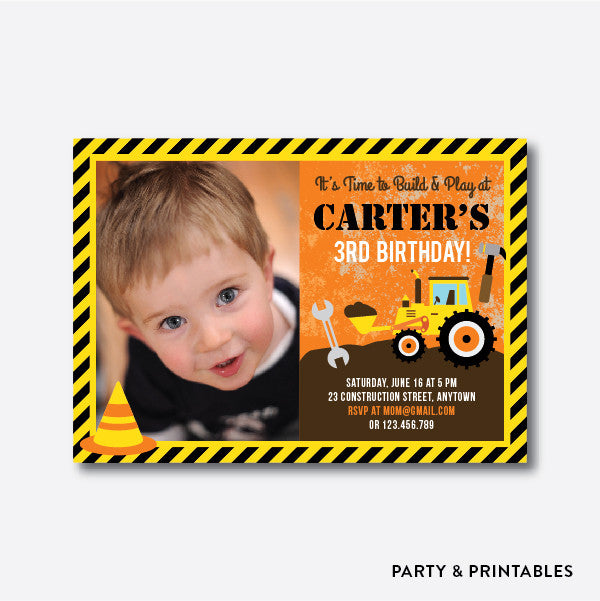 Construction Photo Kids Birthday Invitation / Personalized (PKB.12)