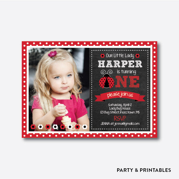 Lady Bug Photo Kids Birthday Invitation / Personalized (PKB.15), invitation - Party and Printables