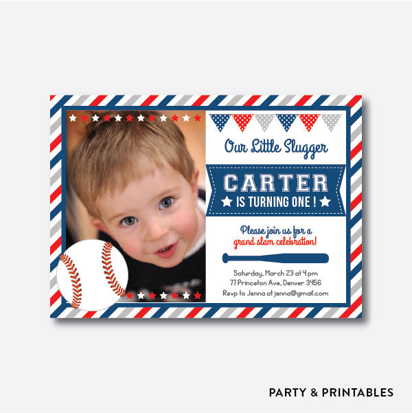 Baseball Photo Kids Birthday Invitation / Personalized (PKB.16), invitation - Party and Printables