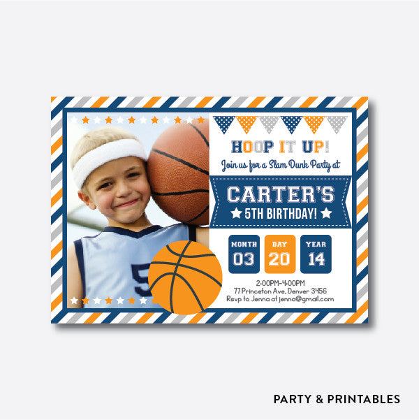 Basketball Photo Kids Birthday Invitation / Personalized (PKB.17), invitation - Party and Printables