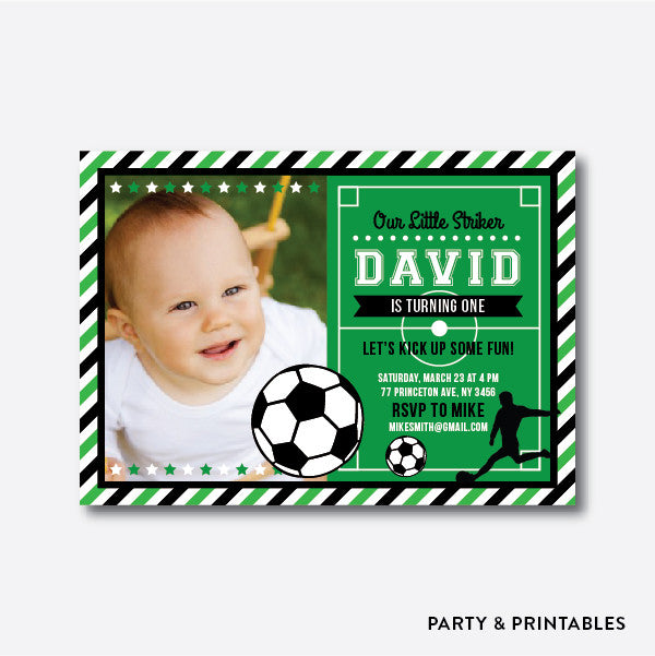 Soccer Photo Kids Birthday Invitation / Personalized (PKB.17), invitation - Party and Printables