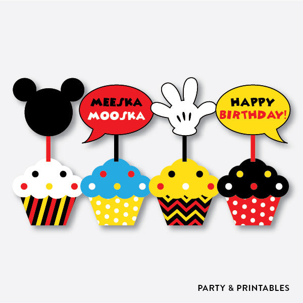 picture regarding Mickey Anchor Printable titled Mickey Mouse Cupcake Toppers / Non-Custom made / Immediate Down load (PKB.19)
