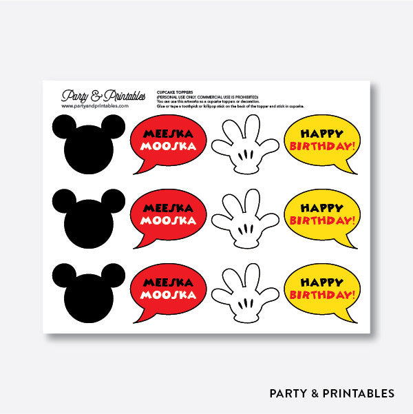 Mickey Mouse Cupcake Toppers / Non-Personalized / Instant Download (PKB.19)