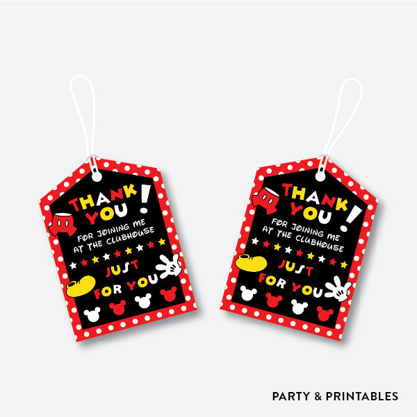 Mickey Mouse Favor Tags / Non-Personalized / Instant Download (PKB.19), party printables - Party and Printables