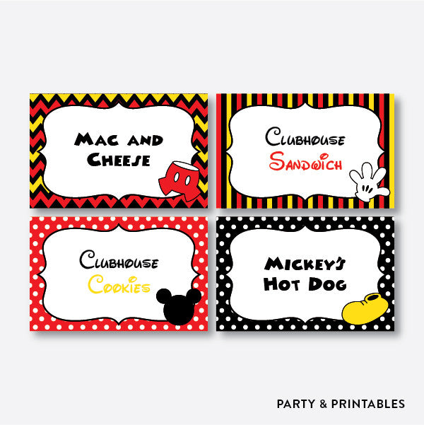 Mickey Mouse Food Labels / Editable / Instant Download (PKB.19), party printables - Party and Printables