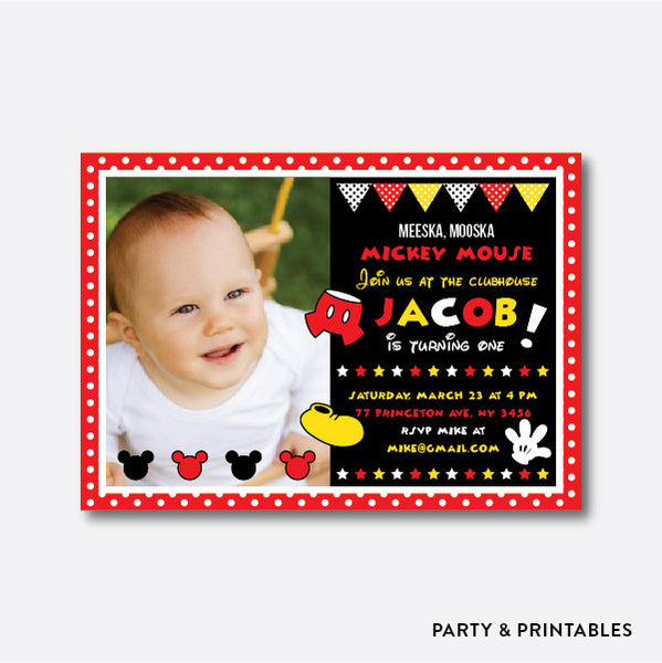 Mickey Mouse Photo Kids Birthday Invitation / Personalized (PKB.19), invitation - Party and Printables