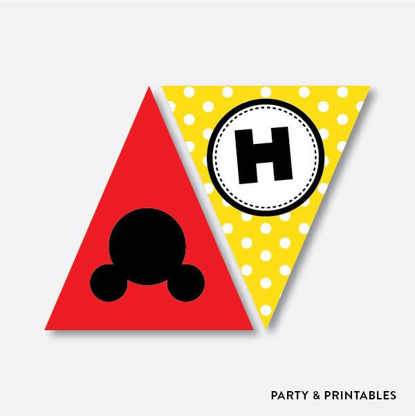 Mickey Mouse Party Banner / Happy Birthday Banner / Non-Personalized / Instant Download (PKB.19), party printables - Party and Printables
