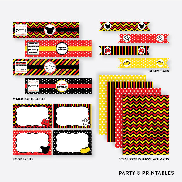 Mickey Mouse Standard Kids Birthday Party Package / Non-Personalized / Instant Download (PKB.19), party package - Party and Printables
