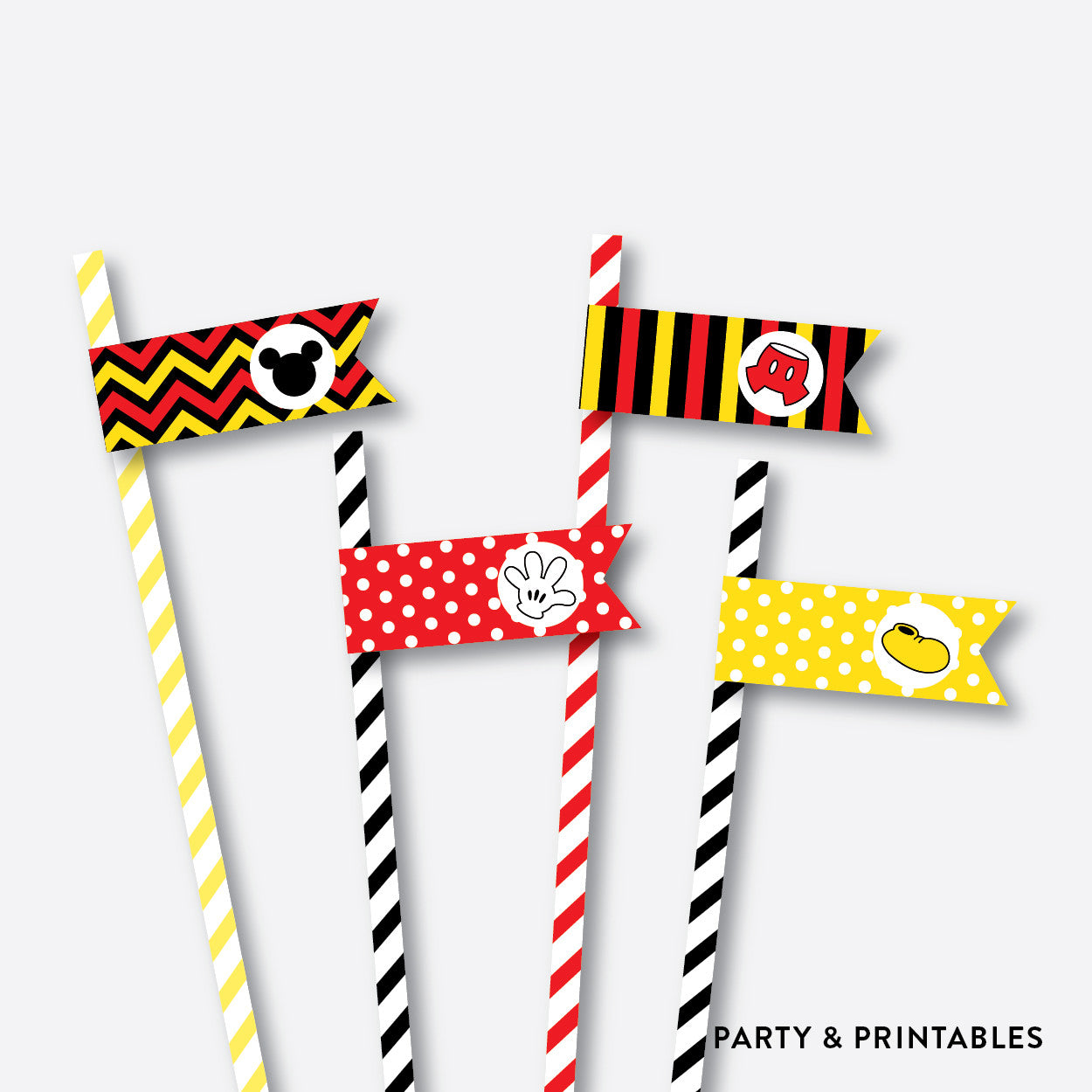 Mickey Mouse Straw Flags / Non-Personalized / Instant Download (PKB.19), party printables - Party and Printables