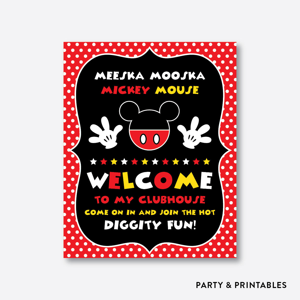 photo regarding Mickey Anchor Printable known as Mickey Mouse Welcome Indicator / Non-Custom made / Fast Obtain (PKB.19)