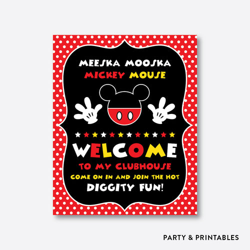 Mickey Mouse Welcome Sign / Non-Personalized / Instant Download (PKB.19)