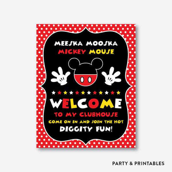 Mickey Mouse Welcome Sign / Non-Personalized / Instant Download (PKB.19), party printables - Party and Printables