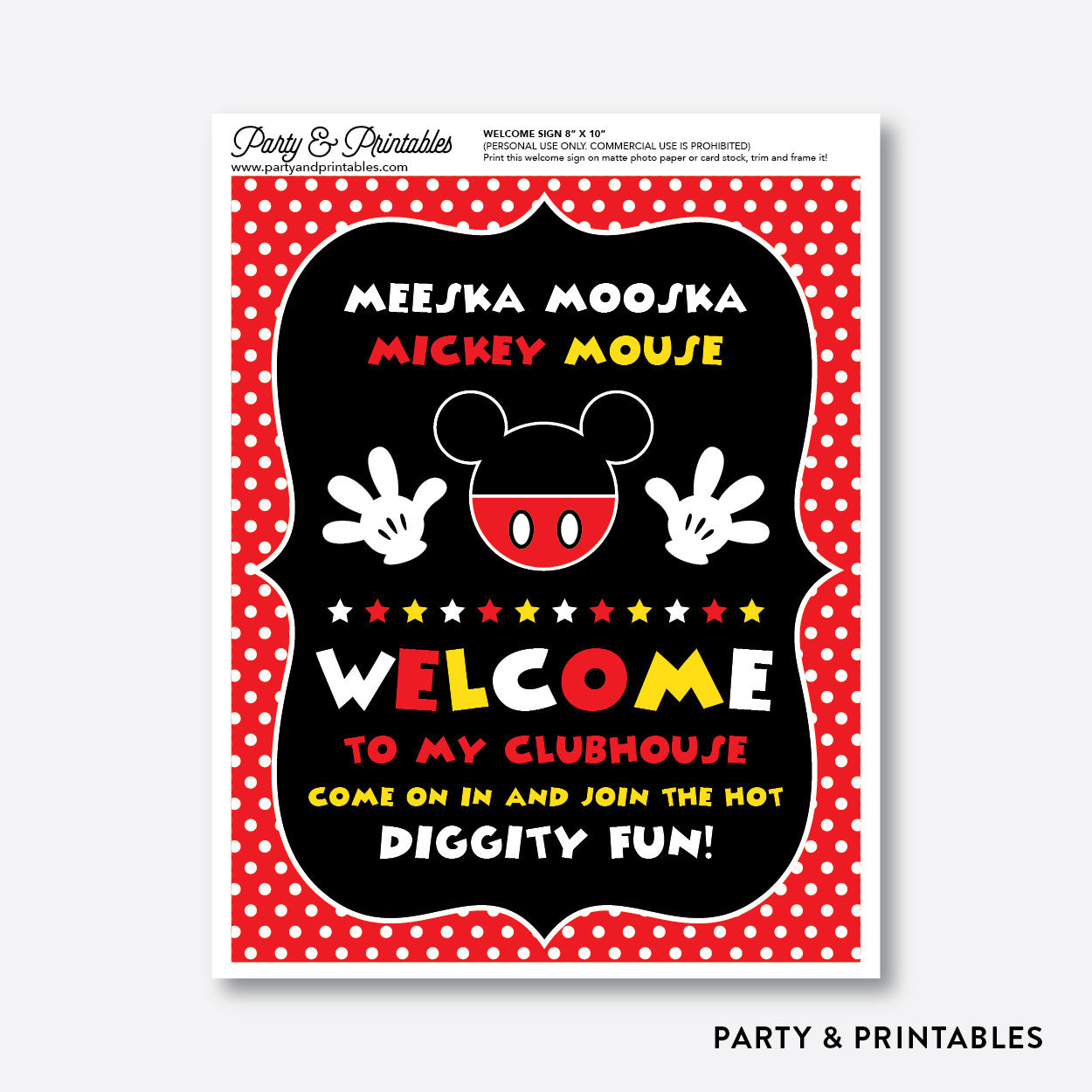 picture about Free Printable Mickey Mouse Signs named Mickey Mouse Welcome Indication / Non-Tailored / Fast Down load (PKB.19)