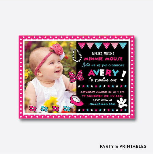 Minnie Mouse Photo Kids Birthday Invitation / Personalized (PKB.20)