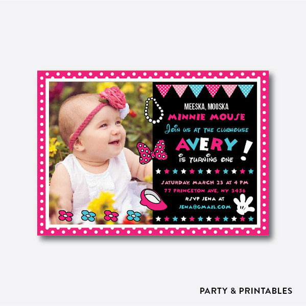 Minnie Mouse Photo Kids Birthday Invitation / Personalized (PKB.20), invitation - Party and Printables