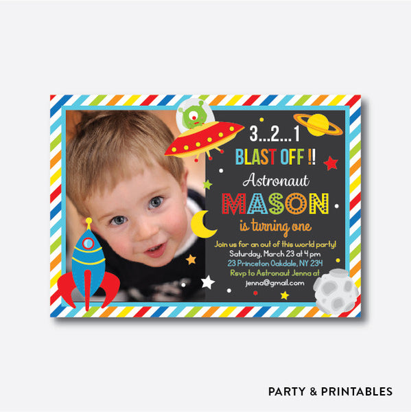 Outerspace Blue Photo Kids Birthday Invitation / Personalized (PKB.21), invitation - Party and Printables