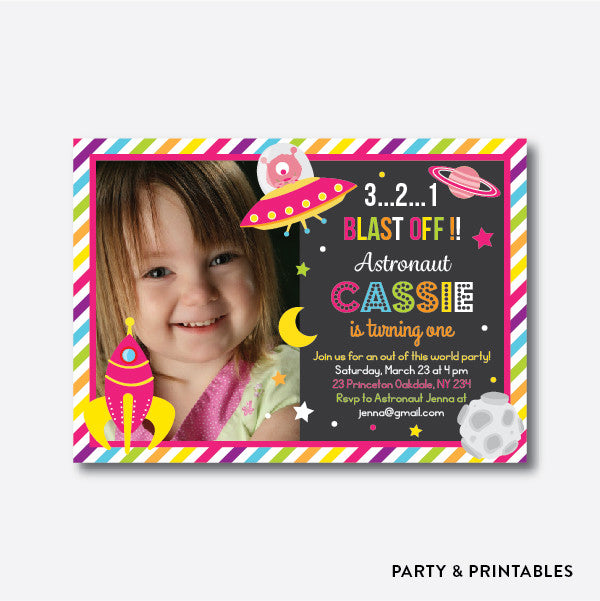 Outerspace Pink Photo Kids Birthday Invitation / Personalized (PKB.22), invitation - Party and Printables