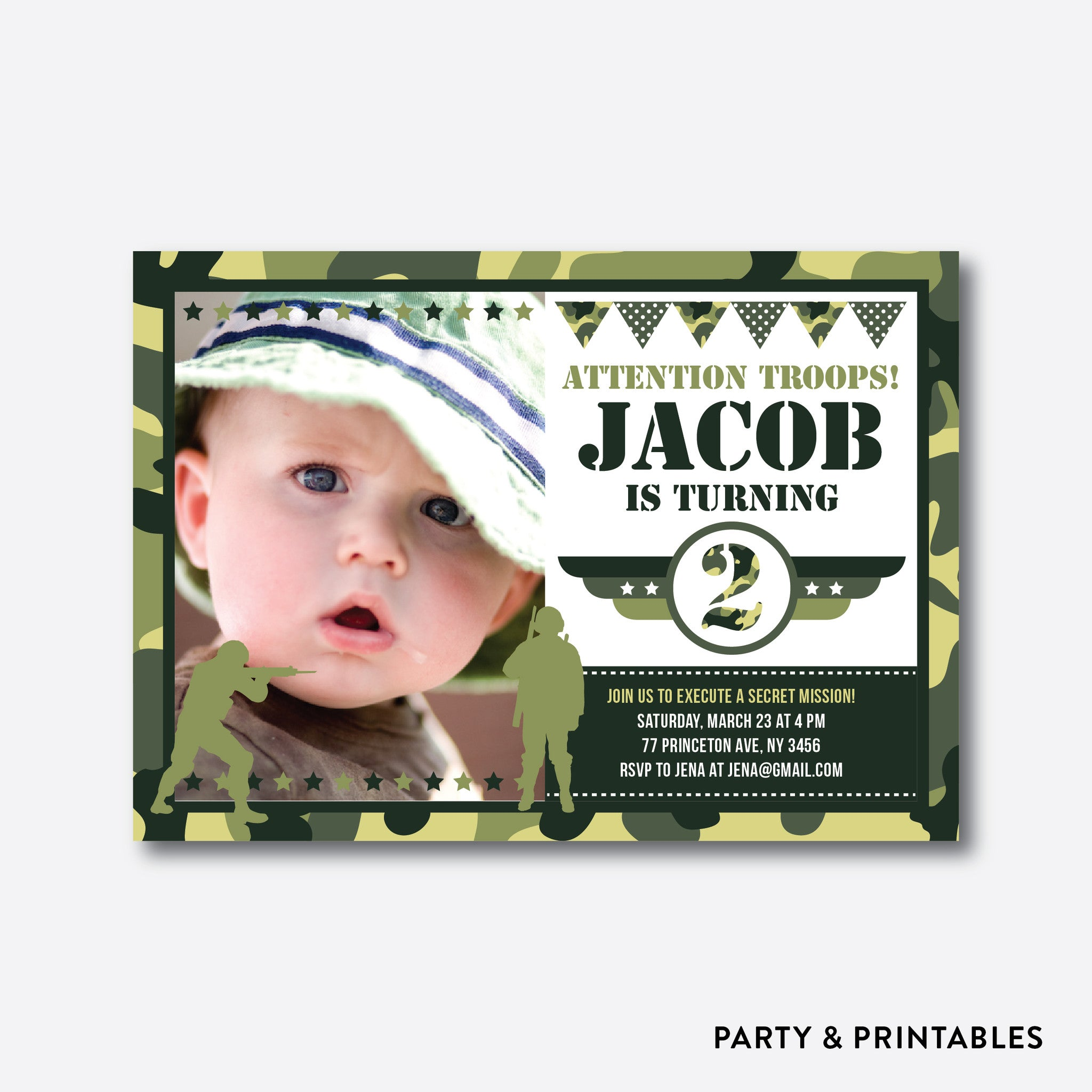 Camouflage Photo Kids Birthday Invitation / Personalized (PKB.23)