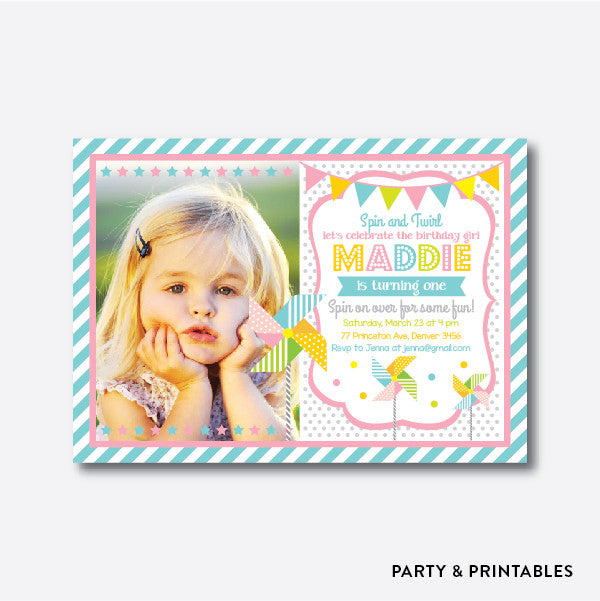 Pinwheel Photo Kids Birthday Invitation / Personalized (PKB.24), invitation - Party and Printables