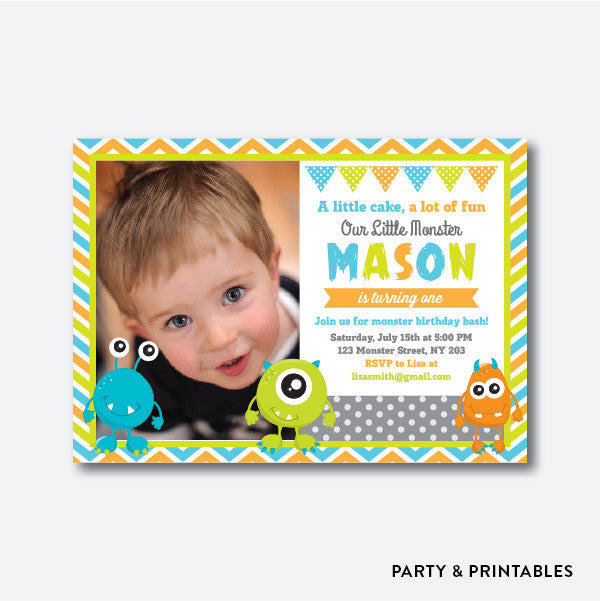 Little Monster Photo Kids Birthday Invitation / Personalized (PKB.25)