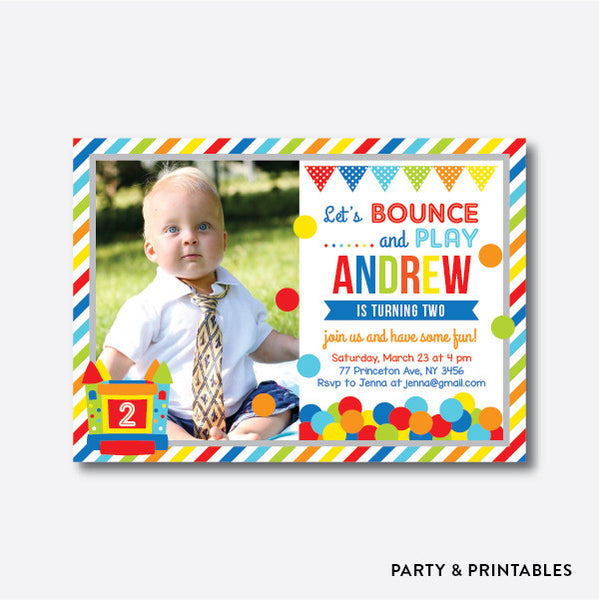 Bounce House Red Photo Kids Birthday Invitation / Personalized (PKB.27), invitation - Party and Printables