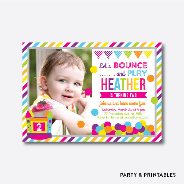 Bounce House Pink Photo Kids Birthday Invitation Personalized PKB28