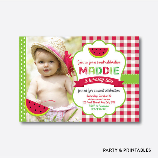 Watermelon Photo Kids Birthday Invitation / Personalized (PKB.31), invitation - Party and Printables