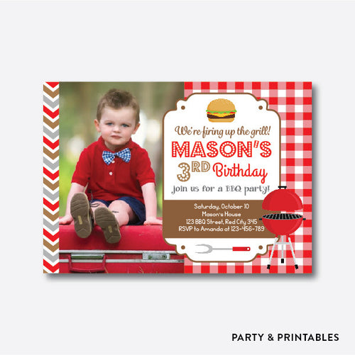 BBQ Photo Kids Birthday Invitation / Personalized (PKB.32)