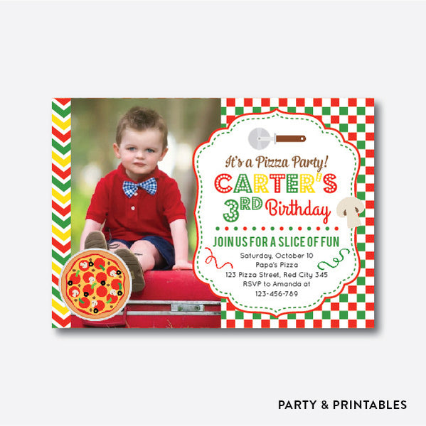 Pizza Photo Kids Birthday Invitation / Personalized (PKB.33), invitation - Party and Printables