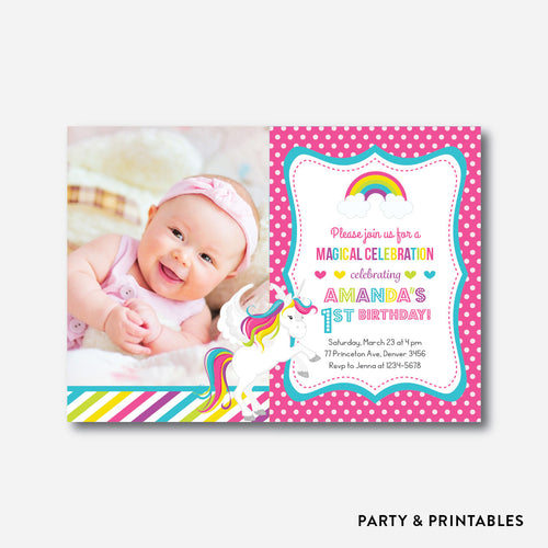 Rainbow Unicorn Photo Kids Birthday Invitation / Personalized (PKB.34)