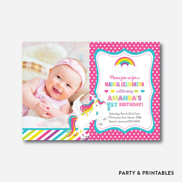 Rainbow Unicorn Photo Kids Birthday Invitation / Personalized (PKB.34), invitation - Party and Printables
