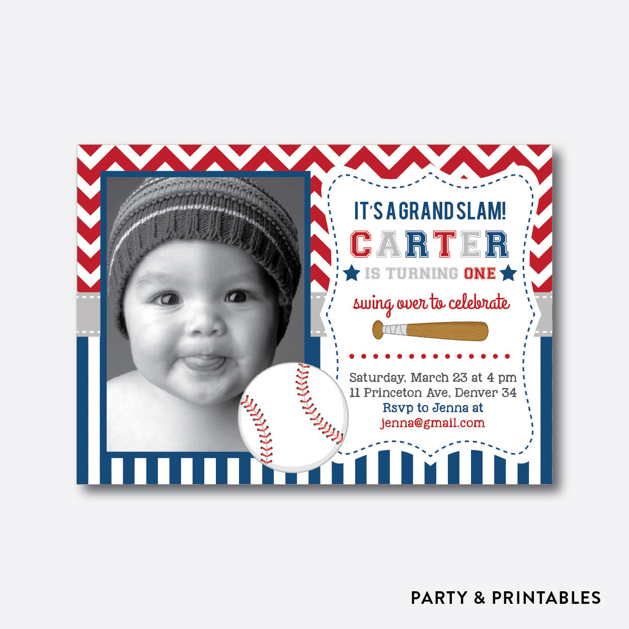 Baseball Photo Kids Birthday Invitation / Personalized (PKB.35), invitation - Party and Printables