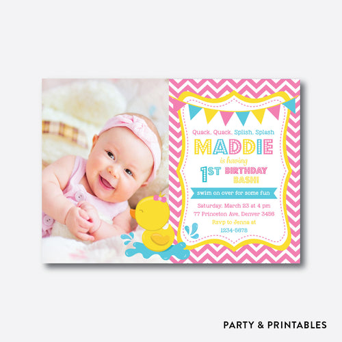 Girl Rubber Duck Photo Kids Birthday Invitation / Personalized (PKB.36)