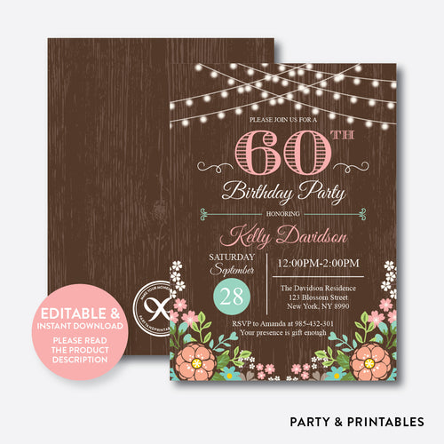 String Lights Rustic Adult Birthday Invitation / Editable / Instant Download (RAB.01)
