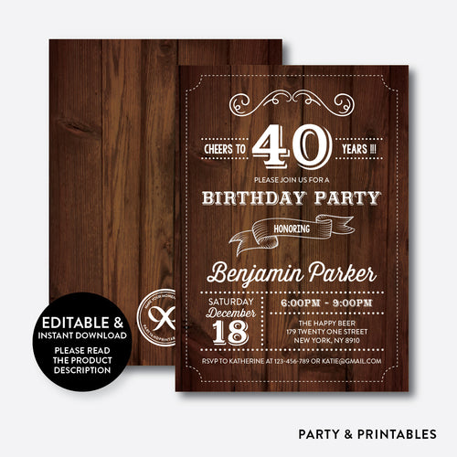 Wooden Adult Birthday Invitation / Editable / Instant Download (RAB.02)