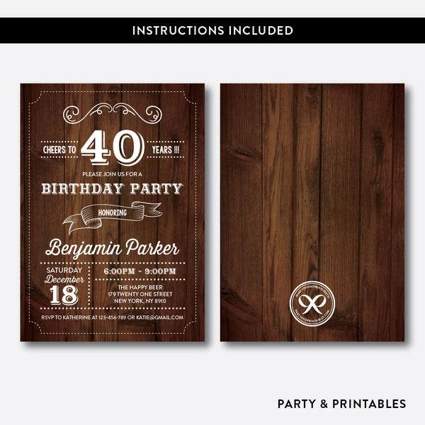 Wooden Adult Birthday Invitation / Editable / Instant Download (RAB.02), invitation - Party and Printables