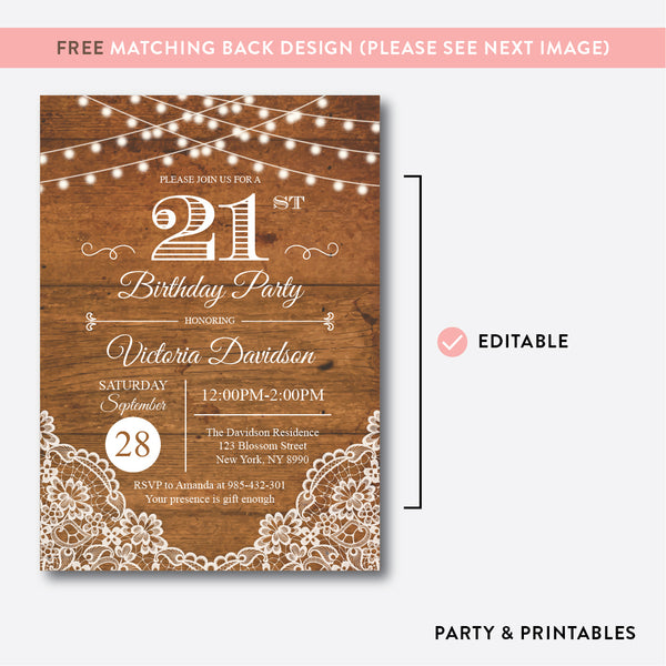 String Lights Rustic Adult Birthday Invitation / Editable / Instant Download (RAB.03)