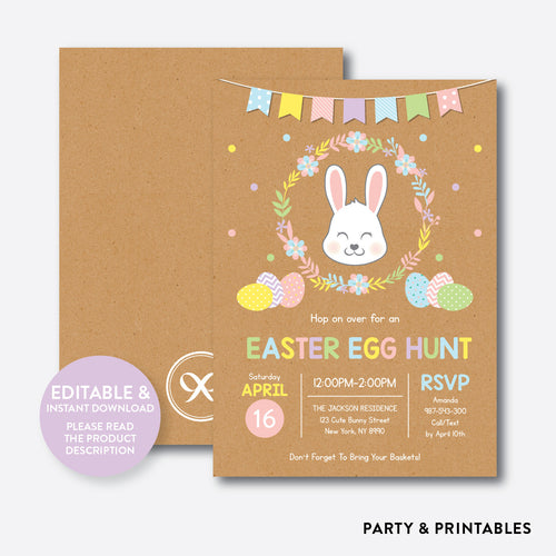 Easter Egg Hunt Holiday Invitation / Editable / Instant Download (RHI.02)