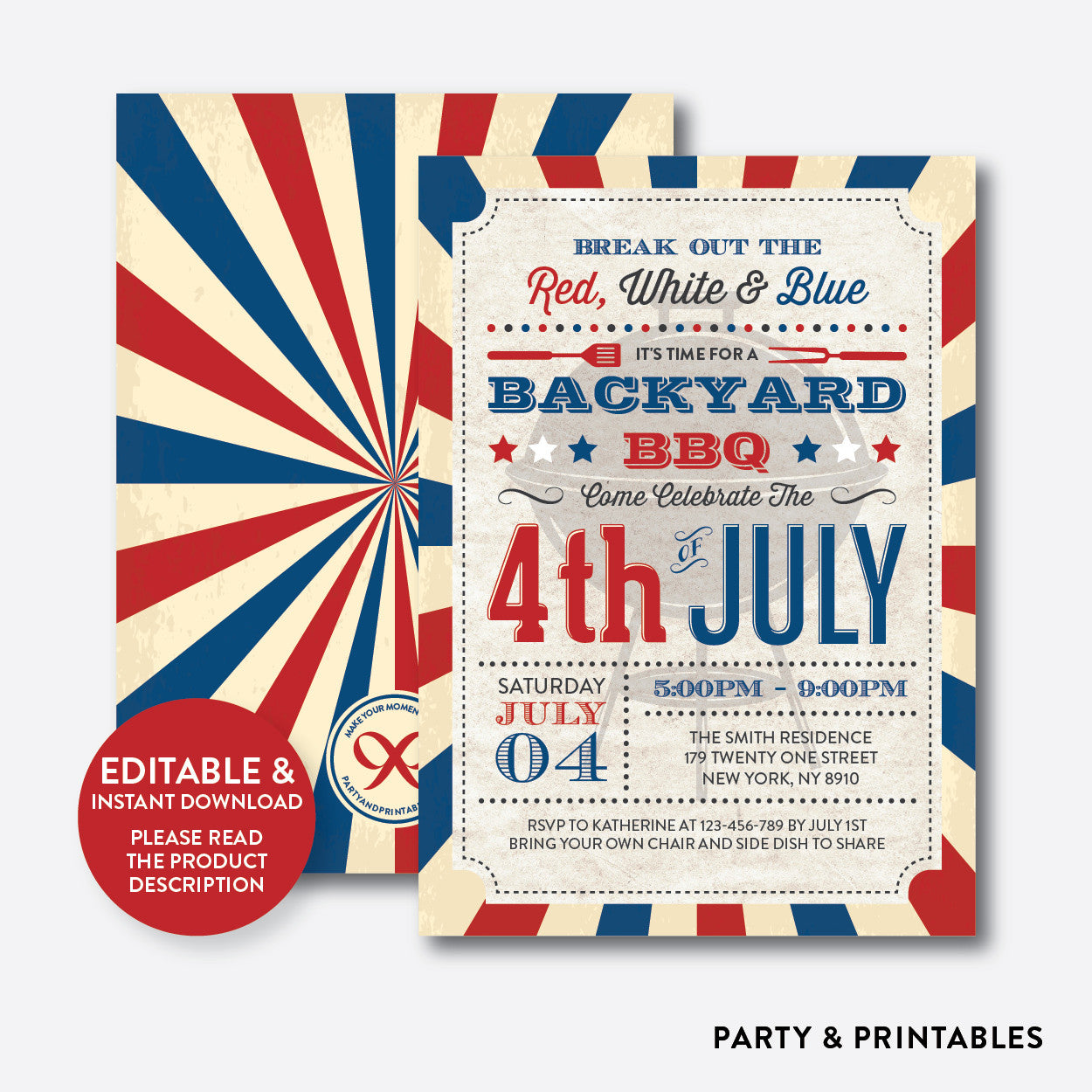 4th of july bbq invitation editable instant download rhi 03