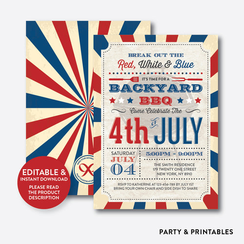 4th of July BBQ Invitation / Editable / Instant Download (RHI.03)