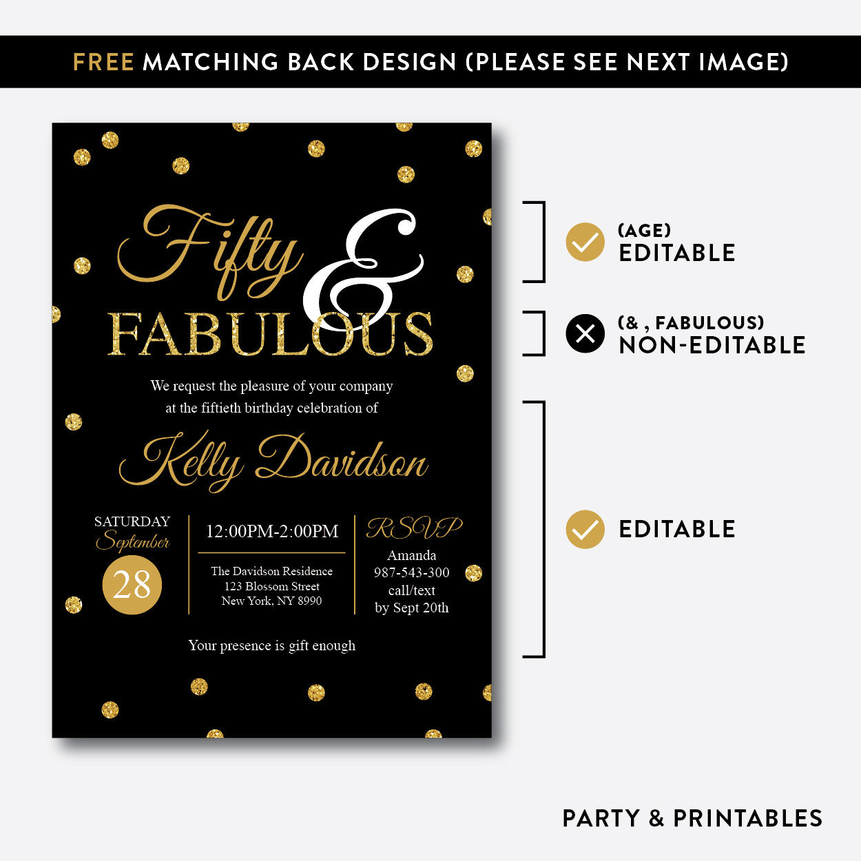 Fifty and Fabulous Gold Confetti Adult Birthday Invitation / Editable / Instant Download (SAB.01)