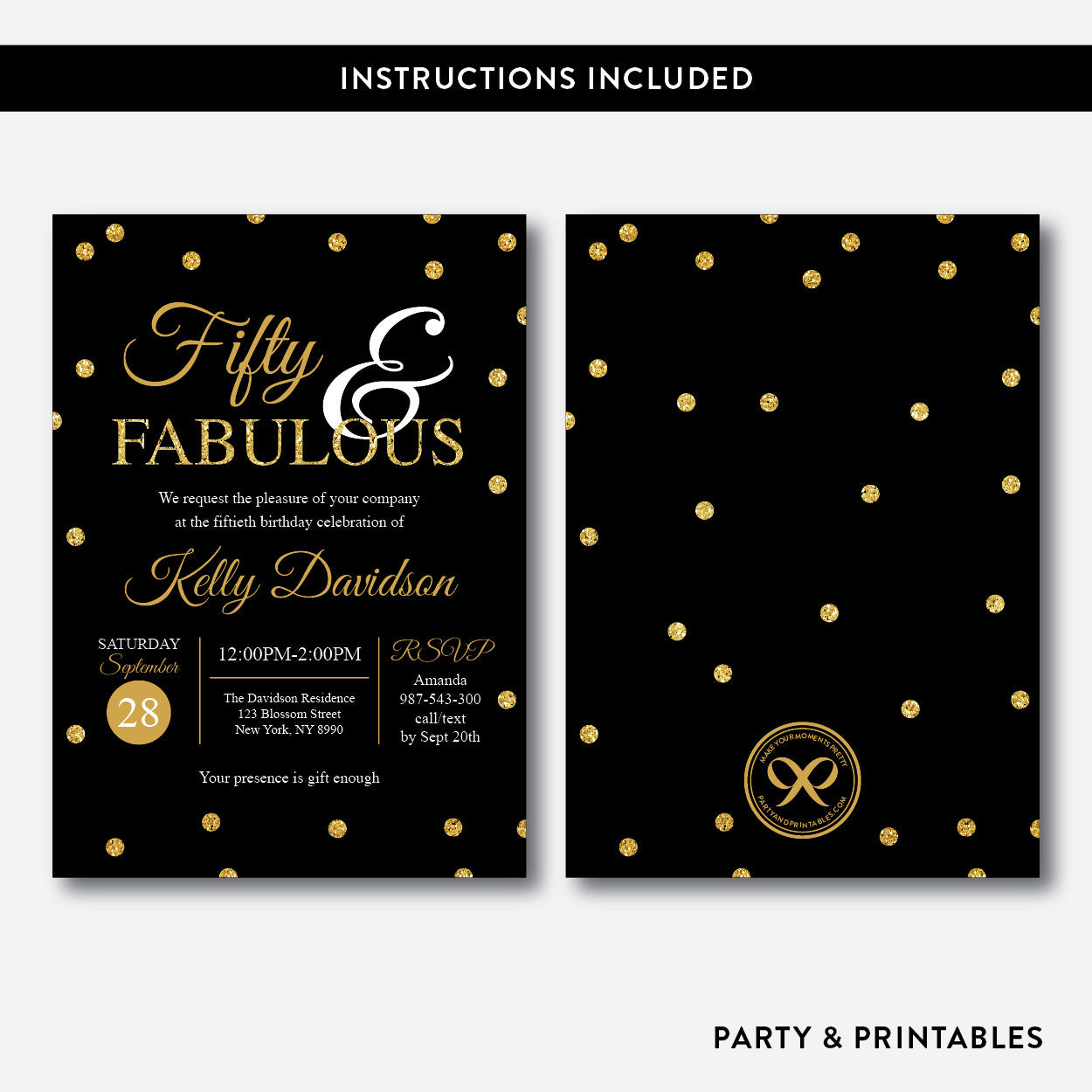 Fifty and Fabulous Gold Confetti Adult Birthday Invitation / Editable / Instant Download (SAB.01), invitation - Party and Printables