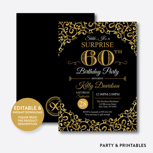 Adult Birthday Invitation / Editable / Instant Download (SAB.02)