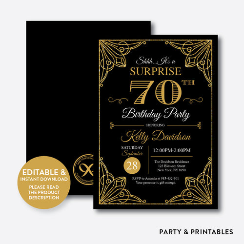 Gold Adult Birthday Invitation / Editable / Instant Download (SAB.04)