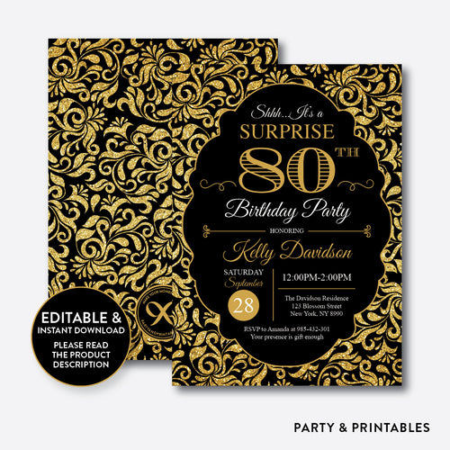 Gold Damask Adult Birthday Invitation / Editable / Instant Download (SAB.06)