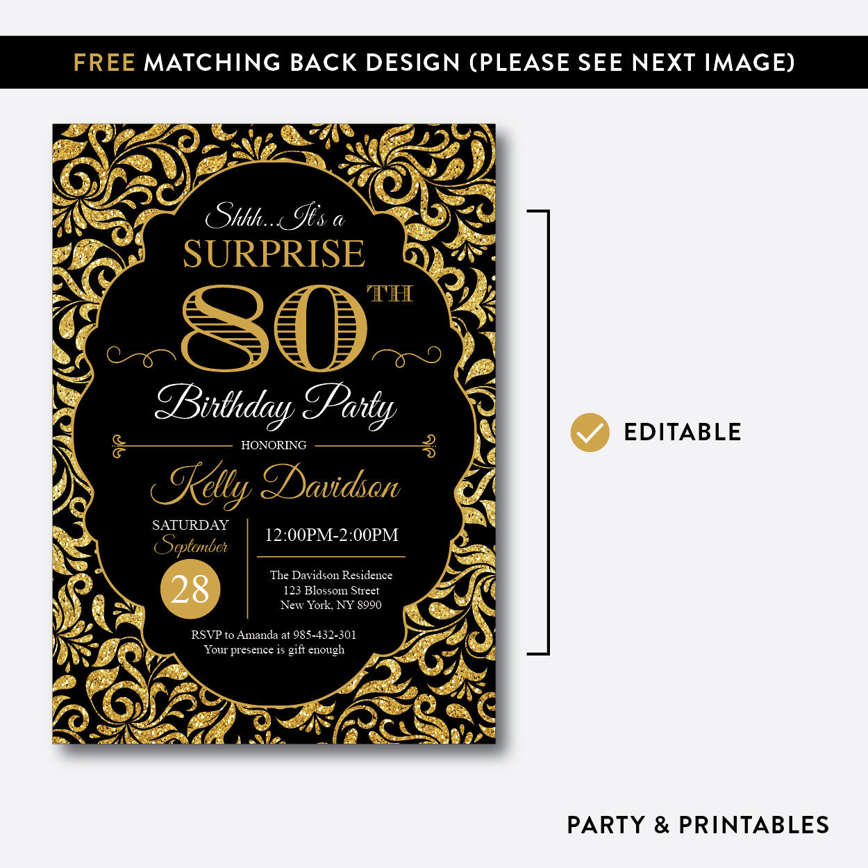 Damask Adult Birthday Invitation / Editable / Instant Download (SAB.06), invitation - Party and Printables