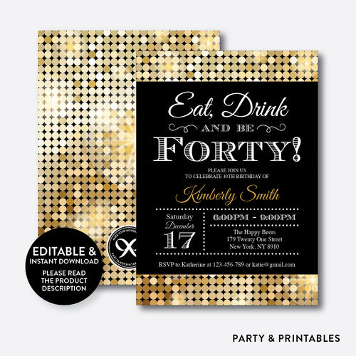 Gold Sequin Adult Birthday Invitation / Editable / Instant Download (SAB.07)