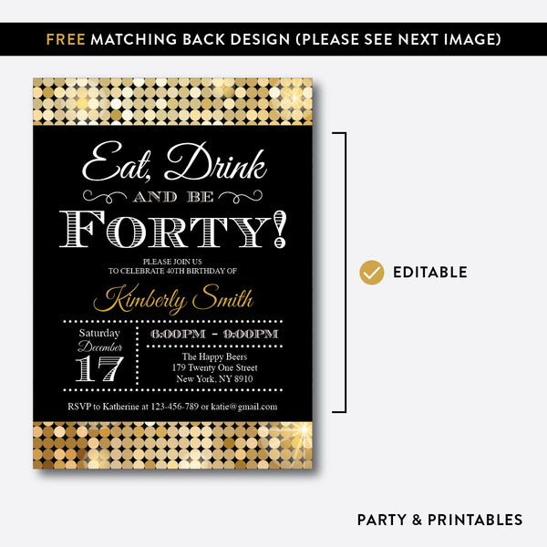Sequin Adult Birthday Invitation / Editable / Instant Download (SAB.07), invitation - Party and Printables