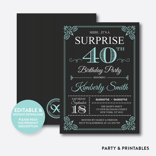 Adult Surprise Birthday Invitation / Editable / Instant Download (SAB.08)